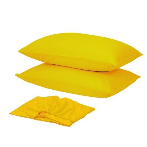 Sarev Ranforce Fitted Çarşaf Seti Çift Kişilik Sarı V33