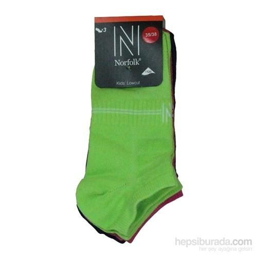 Norfolk Çocuk 3'Lü Çorap Yeşil Pembe Mor