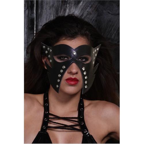 Metal Puntolu Deri Yüz Maskesi