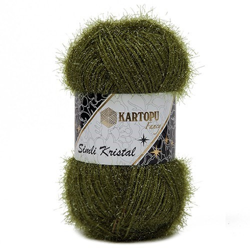 Kartopu Simli Kristal Yeşil El Örgü İpi - K410