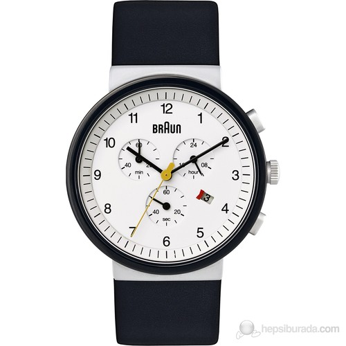 Braun Deri Kayışlı Klasik Erkek Kol Saati Beyaz - Bn0035whbk