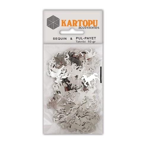 Kartopu Gümüş At Figürlü Figürel Pul Payet - Pp8