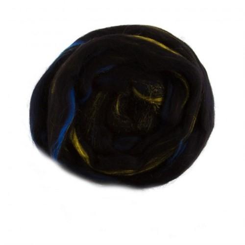 Gazzal Felt Wool Lurex Siyah Ebruli Yün Keçe - 6003