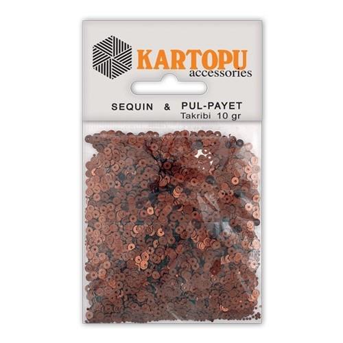 Kartopu Kahverengi Yuvarlak Figürel Pul Payet - Pp1