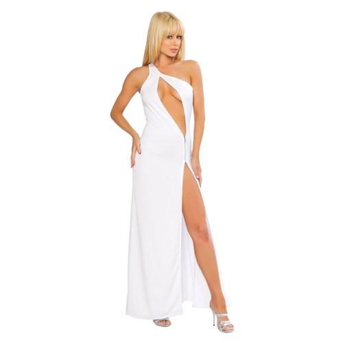 Merry See Fantazi Beyaz Fermuarlı Gece Elbisesi Beyaz