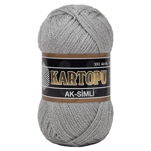 Kartopu Ak-Simli Gri El Örgü İpi - K914