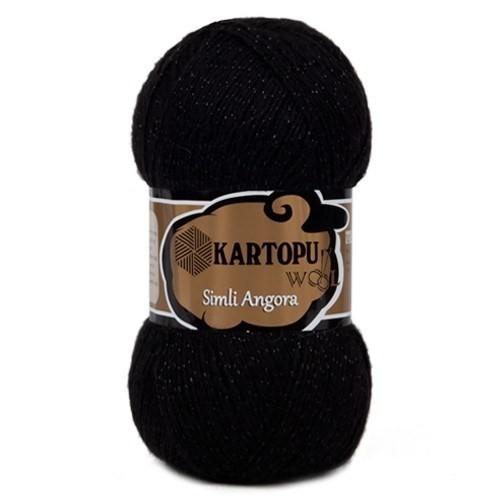 Kartopu Simli Angora Siyah El Örgü İpi - K940