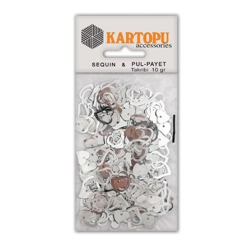 Kartopu Gümüş Kalp Figürlü Figürel Pul Payet - Pp4