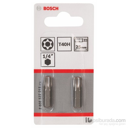Bosch - 2'Li Paket - Ekstra Sert Seri T40H Security-Torx® Vidalama Ucu - T40H, 25 Mm
