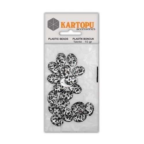 Kartopu Gümüş Rengi Leopar Dikilebilir Boncuk - Ldg10