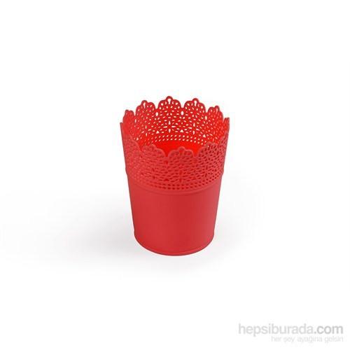 Plantistanbul Dantel Desenli Saksı Seti 4 Adet Kırmızı