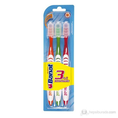 Banat 3'lü Ekonomik Diş Fırça Seti(Orta Sert,kokulu, kauçuk saplı)