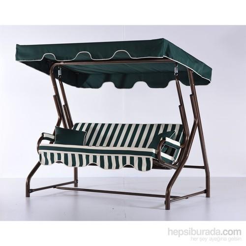 Erinöz Bahçe - Balkon - Teras Salıncağı , 2 Kişilik, 140 Cm, Ø51'lik Sabit Salıncak Bakır Renk (Panama Lüks Kumaş)