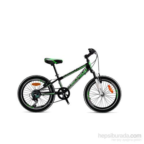 "Geroni Cosmos 20"" Sis Siyah Yeşil Mtb Vitesli Çocuk Bisikleti 6-9 Yaş"