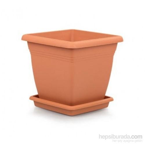Plantistanbul Villla Kare Saksı Kahverengi Renk, 4,6 Litre, 3 Adet