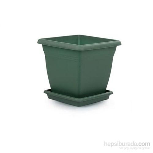 Plantistanbul Villla Kare Saksı Koyu Yeşil Renk, 4,6 Litre, 3 Adet