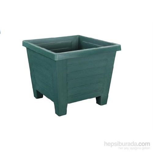 Plantistanbul Kare Saksı Koyu Yeşil Renk, 1,2 Litre, 3 Adet