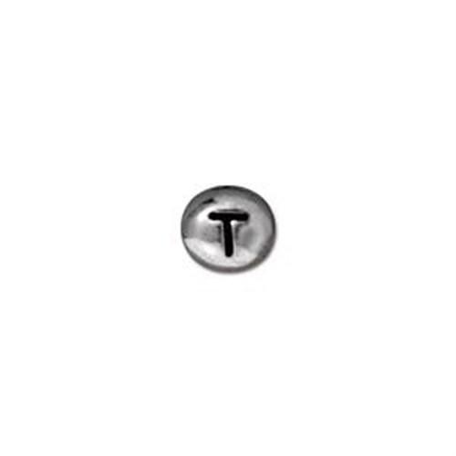 Tierra Cast Metal 1 Adet 6X6.75 Mm Gümüş Rengi T Harfi Aksesuar Boncuk - 94-510T-60
