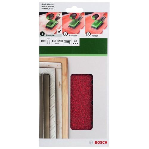 Bosch - Titreşimli Zımpara Kağıdı 10'Lu, 115 X 230 Mm 40 Kum 14 Delik
