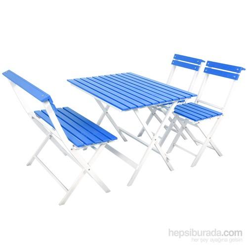 Adaliss Bahçe Balkon Masa Sandalye Takımı Mavi