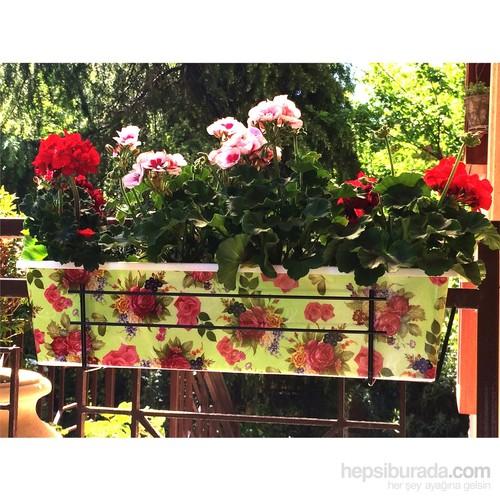 House2home Güllü Balkon Saksısı - Yeşil 59 X 17.2 X 14.3 Cm