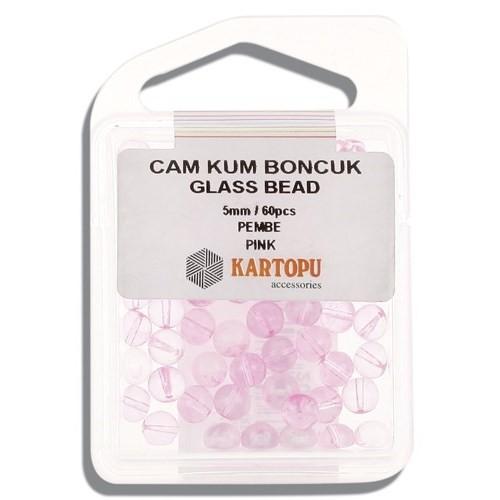 Kartopu 5 Mm Pembe Cam Kum Boncuk - 12.107