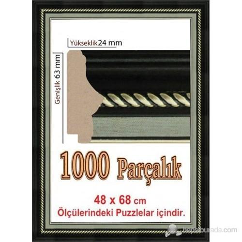 Polistiren Çerçeve Siyah Puzzle Çerçevesi (68 X 48 Cm.)