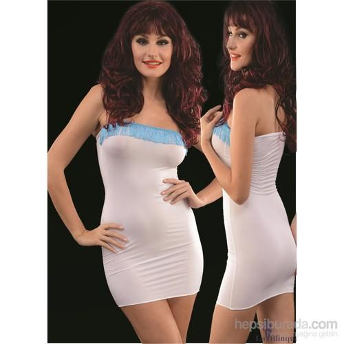La Blinque Mini Mavi Püsküllü Beyaz Seksi Elbise