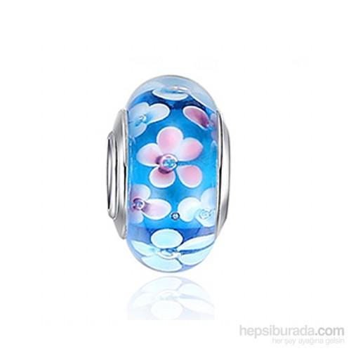 Angemiel Açık Mavi Çiçekli Murano Charm İle Kendi Tarzını Yarat