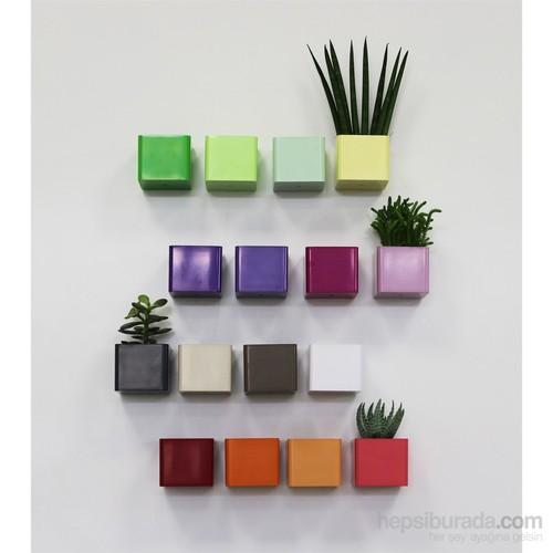 Greenmall Mini Küp Manyetik Saksı - Mıknatıslı Plastik Saksı Açık Yeşil
