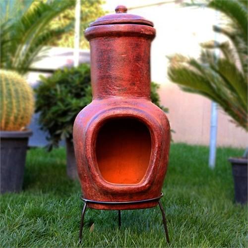 Greenmall Aztek Açık Hava Bahçe Şöminesi + Mangal Kırmızı