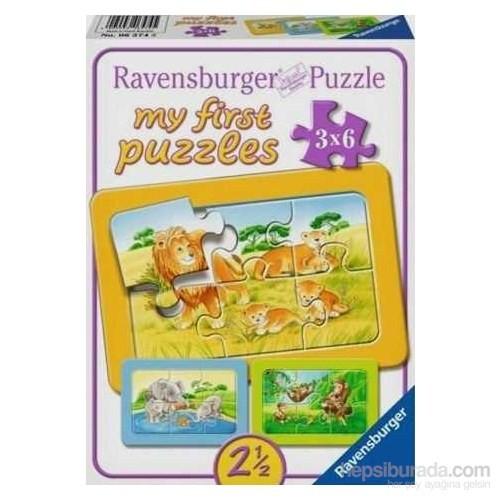 Fil,Maymun,Aslan (3X6 Parça Puzzle)