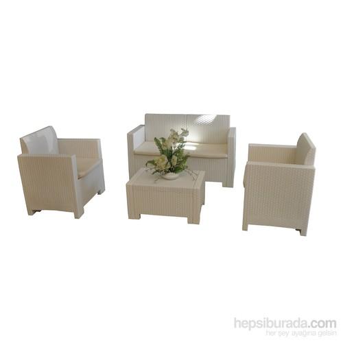 Erinöz Rattan Plastik Oturma Grubu (2 + 1 + 1 Koltuk, Koltuk Minderi Ve Orta Sehpa) Beyaz