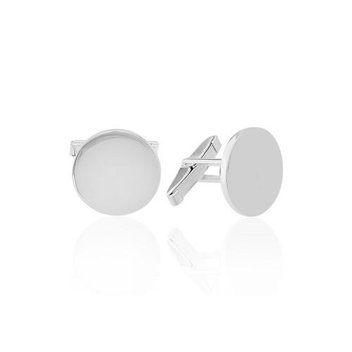 Olivin Accesories Sade Yuvarlak Gümüş Kol Düğmesi