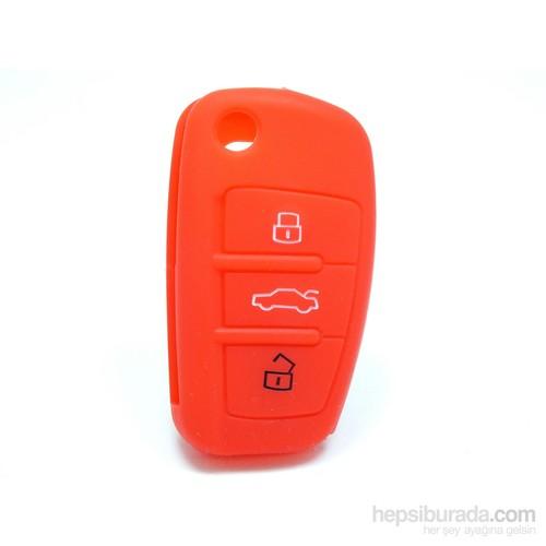 Gsk Audi A3 Kumanda Kabı Koruyucu Kılıf 3 Tuş (Kırmızı)