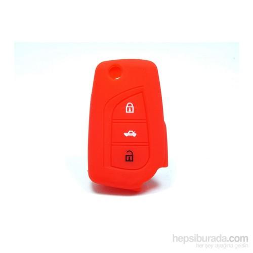 Toyota Avensis Anahtar Kumanda Kabı Koruyucu Silikon Kılıf 3 Tuş ( Kırmızı )