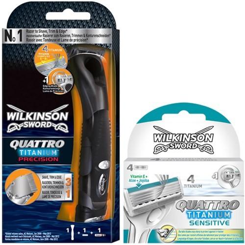 Wilkinson Sword Quattro Titanium Precision Pilli Tıraş Seti (5 Yedekli)