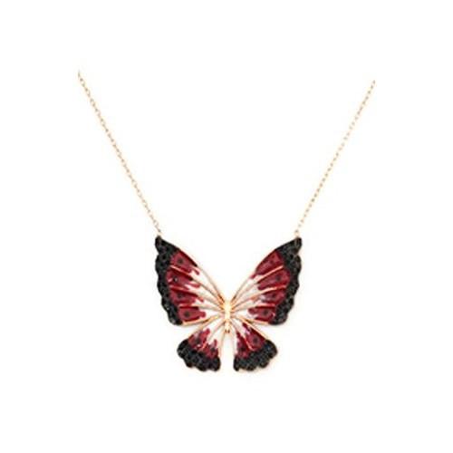 Beyazıt Takı 925 Ayar Gümüş Siyah Kırmızı Kelebek Kolyesi