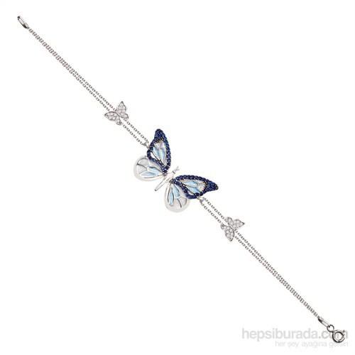 Tesbihane 925 Ayar Gümüş Mavi Kelebek Model Bileklik