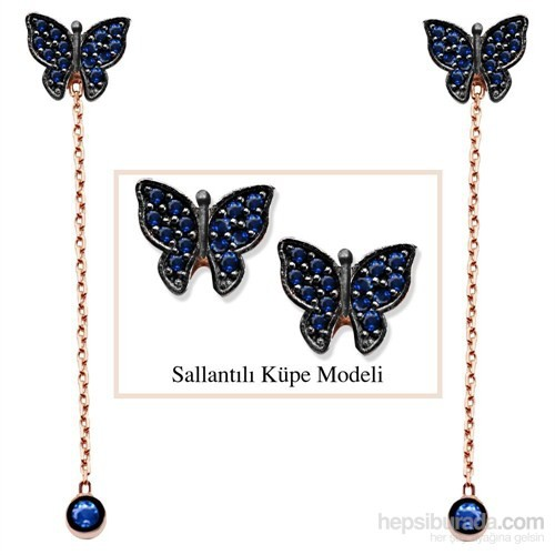 Tesbihane 925 Ayar Gümüş Mavi Zirkon Taşlı Kelebek Model Japon Sallantılı Küpe