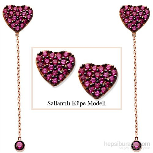 Tesbihane 925 Ayar Gümüş Pembe Zirkon Taşlı Kalp Model Japon Sallantılı Küpe