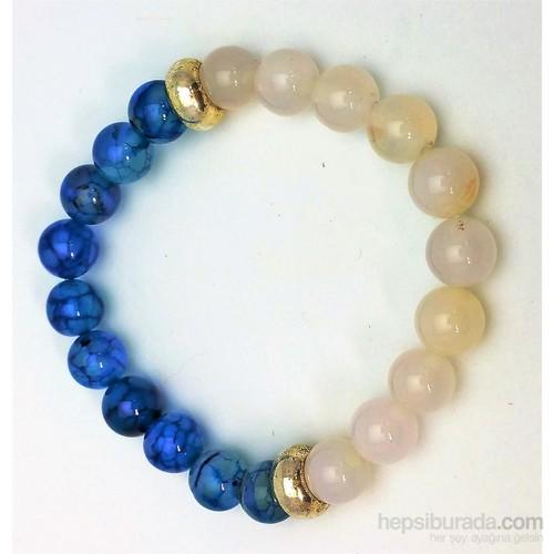 Cecilia Collection Sitrin Ve Damarlı Mavi Akik Doğal Taş Bayan Bileklik