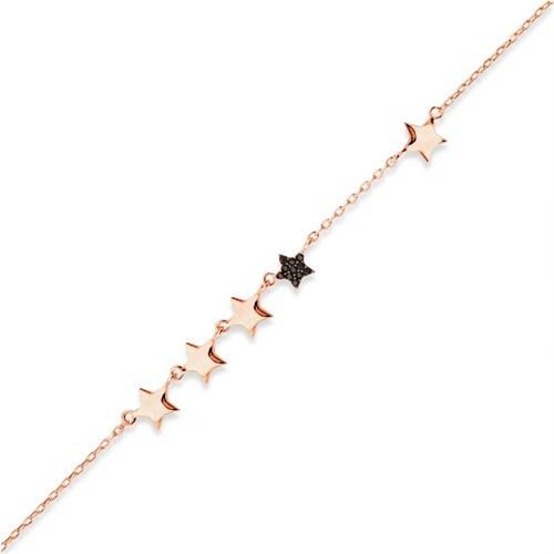 Bayan Lili Sıralı Yıldız Gümüş Bileklik