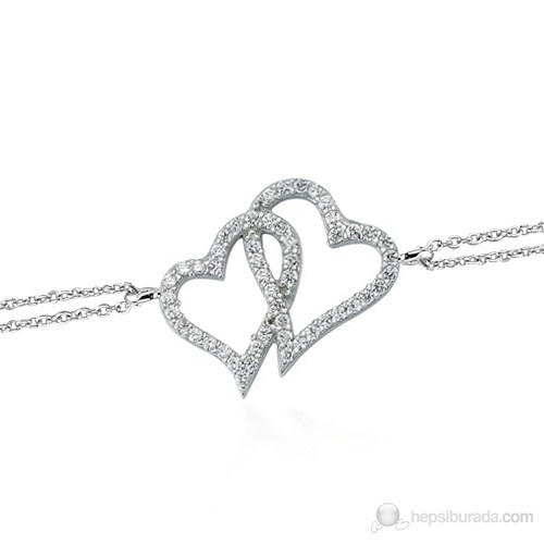 Glorria 925 Ayar Gümüş Kalp Bileklik