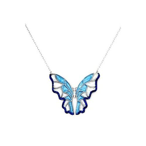 Beyazıt Takı 925 Ayar Gümüş Mavi Turkuaz Kelebek Kolye