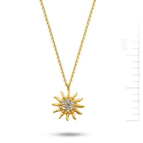 Bella Gloria 14 Ayar Altın Güneş Kolye (PP78090)