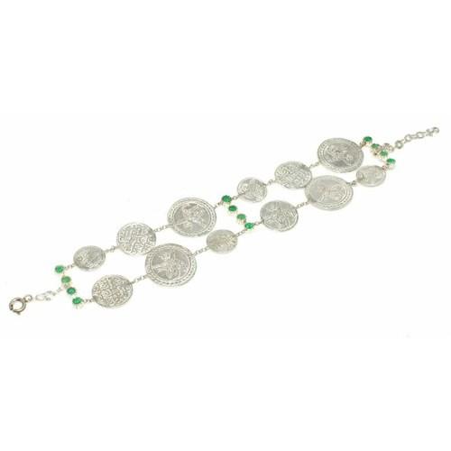 Nusret Takı 925 Ayar Gümüş Zümrüt Taşlı Paralı Bileklik