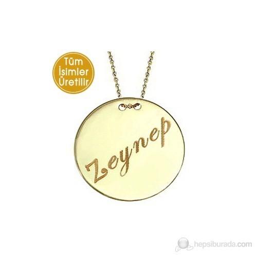 Goldstore 14 Ayar Altın Yazılabilir Madalyon İsim Kolye GP16592