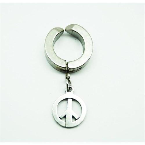 Gümüş Rengi Barış Çelik Sıkıştırma Küpe