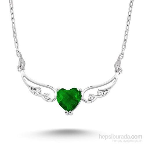 Silver & Silver Yeşil Kalp Melek Zirkon Taşlı Kolye